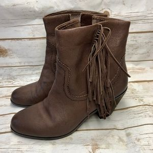 Sam Edelman Louie Brown Fringed Heeled Ankle Boot